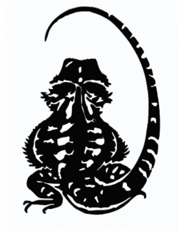 Bearded Dragon vinyl sticker (back view)