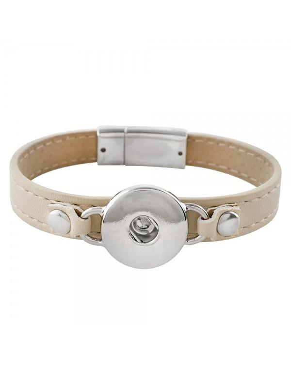Monarch Bijoux - Cream Leather Bracelet  (Snap Line)