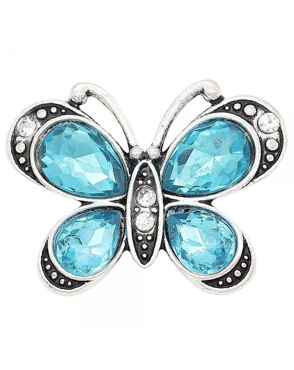 Monarch Bijoux -  Blue Crystal Butterfly - Classic Snap  (Snap Line)